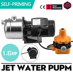 1 6hp Jet Water Pump W pressure Switch Self priming 70 L h 3420rpm Stainless