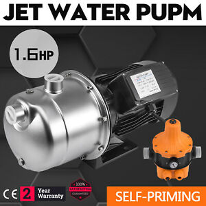 1 6hp Jet Water Pump W pressure Switch Self priming Graphite 180 Ft Agricultural
