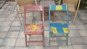 2 Antique Folding Chairs Hand Painted Key West Style