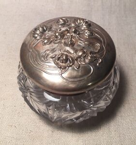 Kerr Antique Art Nouveau Lady Sterling Silver Cut Glass Vanity Jar