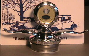 1928 1929 Model A Ford Plain Rim Moto Meter With Wings And Locking Radiator Cap