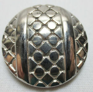 Antique Button Large Black Glass With Silver Luster Round Geometric