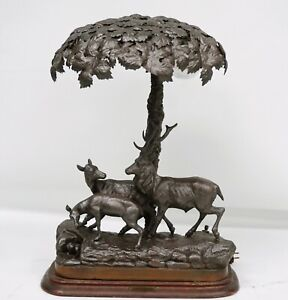 Rare Antique French Lamp With Stag Fawn Sous Bois Forest Floor
