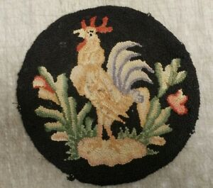 Antique 15 1 2 American Folk Art Crowing Rooster Primitive Hooked Rug Chair Pad