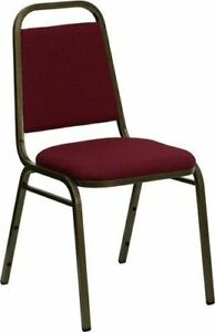 10 Pack Banquet Chair Burgundy Fabric Restaurant Chair Trapezoidal Back Stacking