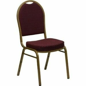 10 Pack Banquet Chair Burgundy Pattern Fabric Restaurant Chair Dome Back Stack