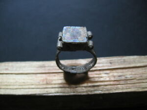 Ancient Roman Billon Silver Finger Ring With Iridescent Glass Stone 1 2 Ct A D