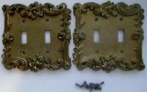 2 Vintage American Tack Hardware Brass Double Light Switch Cover Plates 60tt