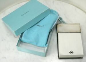 Vintage Tiffany Co 925 Sterling Silver Leather Note Pad Holder Box Pouch