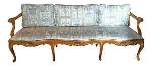 Vintage French Provincial Louis Xvi Sofa Bench Neoclassical Upholstered