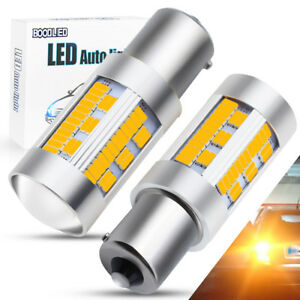 2x Bau15s 1156 Led Bulb 105smd Canbus 2800lm Amber Py21w Brake Turn Signal Light