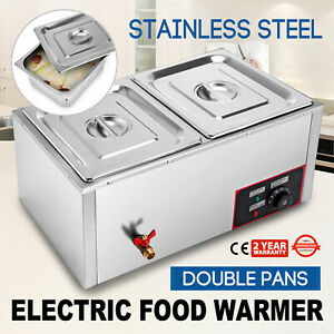22 2 pan Bain marie Food Warmer Steam Table 850w With Pans lids