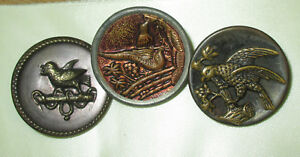 Lot 3 Med Sz Antique Victorian Metal Picture Buttons Bird W Worm Red Tint
