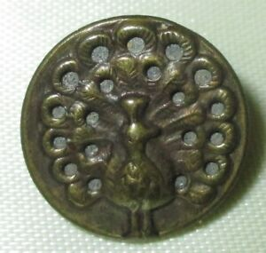 Antique Victorian Metal Picture Button Brass Mirror Back Twinkle Peacock 9 16