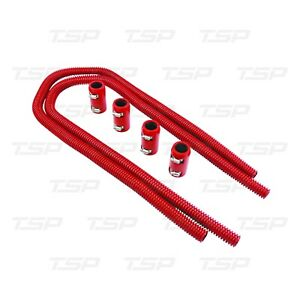 Red Stainless Steel 44 Flexible Heater Hose Kit