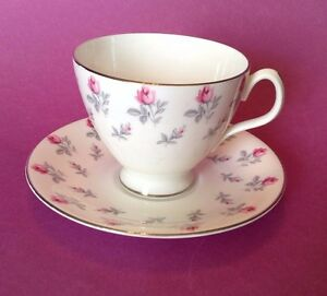 Royal Albert Tea Cup And Saucer Winsome Pattern Silver Rims Multiple Sets