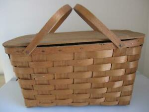 Antique Primitive Woven Wooden Old Picnic Basket Vintage Farmhouse Large