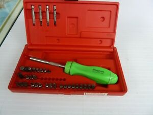 Snap On Ratcheting Magnetic Screwdriver Set Green Ssdmr4b Nice