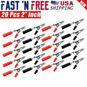 20 Pcs Electrical Test Clamps Metal Alligator Clips With Red Black Handle Bulk