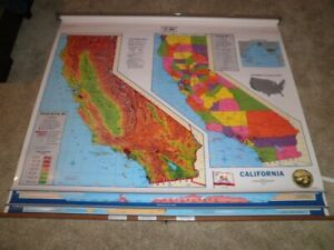 Cram Triple Pull Down World Usa Map California Home School Markable Custom