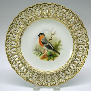 Antique Mintons Porcelain Reticulated Cabinet Plate The Bullfinch Bird 9 1 8