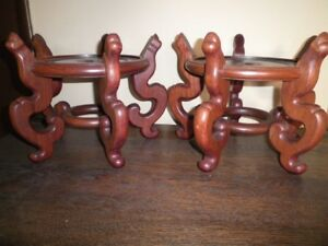 Vintage Pair Rosewood Plant Stands Heavy Hand Made Dowel Construction Rare