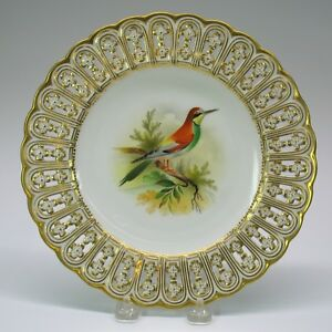 Antique Mintons Porcelain Reticulated Cabinet Bird Plate The Bee Eater 9 1 8