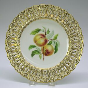 Antique Mintons Porcelain Reticulated Cabinet Fruit Plate Nectarine 9 1 8