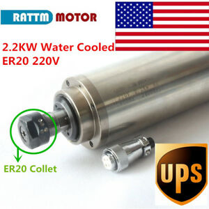 usa Stock 2 2kw Water Cooled Spindle Motor Er20 220v 80mm 400hz For Cnc Router
