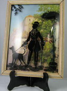 Vintage Silhouette Bubble Glass Picture Frame Victorian Man Walking His Dog