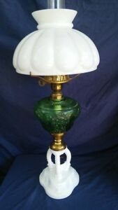 Tripod Antique Oil Lamp Green Glass Milk Glass Base Electrified Unusual