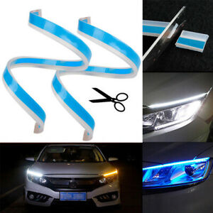 2pcs 45cm Led Headlight Strip Light Daytime Turn Signal Ice Blue