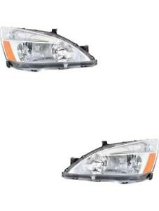 Headlights For Honda Accord 2003 2004 2005 2006 2007 Pair Left Right 2dr And 4dr