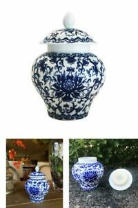 Ancient Chinese Style Porcelain Tea Storage Temple Jar Helmet Shaped Small New
