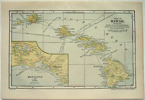 Original 1903 Map Of Hawaii By Dodd Mead Company Antique