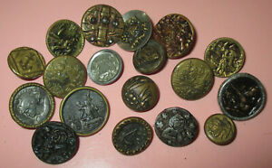 Lot 18 Antique Victorian Metal Picture Buttons Birds Angel Architecture