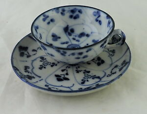Chinese Or Japanese Asian Small Cup Saucer Set White Blue Porcelain