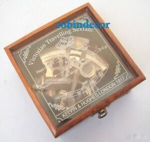 Maritime Nautical Brass Sextant With Wooden Engraving Box Kelvin