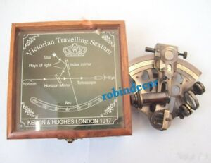 Nautical Maritime Brass Sextant With Wooden Engraving Box Kelvin