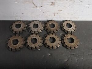 Set Of 8 Standard Tool Involute Gear Cutters 8p No 1 no 8 Machinist Milling Used