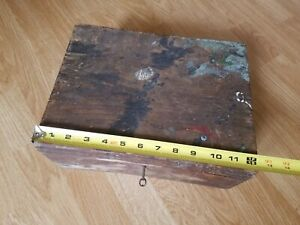 Antique Vintage Wooden Box With Lock Key