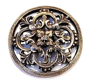 Antique Button Pretty Pierced Silver Tone Metal With Sparkling Cut Steels 15 16