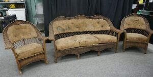 Antique 3 Piece Bar Harbor Wicker Set Couch Rocker Arm Chair Original Kennebunk
