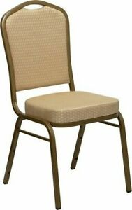 10 Pack Banquet Chair Beige Patterned Fabric Restaurant Chair Crown Back Stack