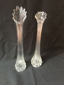 2 Antique Glass Tall Clear Flower Vase C1900