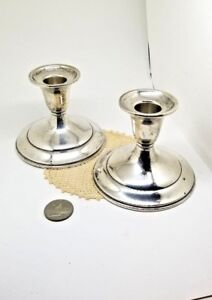 Vintage Pair A T Gunner Mfg Co Of Ma Sterling Silver Candlesticks Holder
