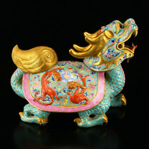 Chinese Gilt Gold Famille Rose Porcelain Dragon Turtle Statue