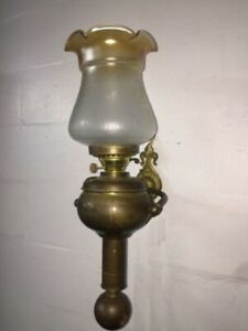 Antique Ship Oil Lamp Gimbal Weighted Wall Mount Electrified Nautical C 1882