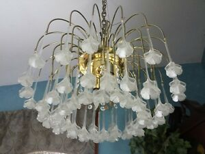 Vtg Murano Mid Century Modern Retro Chandelier Venini Floral Waterfall Prisms