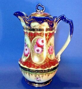 Nippon Ornate Chocolate Pot Or Teapot Hand Painted With Gold Moriage Japan